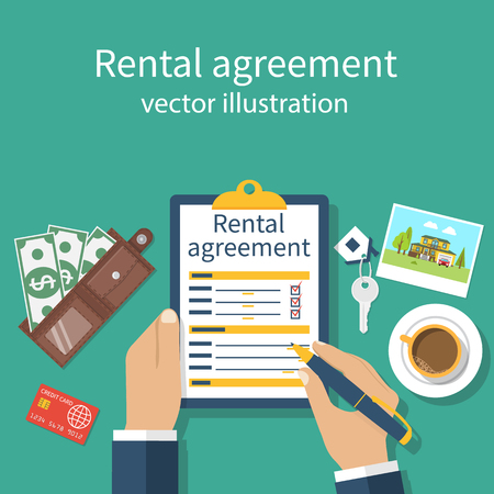 Rental Agreement Form Contract. Signing Document. Vector ...