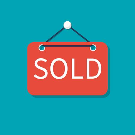 Segno venduto In vendita immobiliare. Design piatto illustrazione vettoriale. Isolato su sfondo Vettoriali