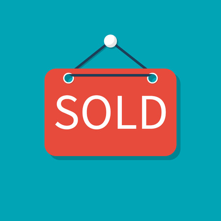 Sold sign. For Sale real estate. Vector illustration flat design. Isolated on background.