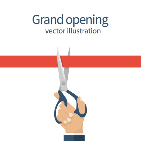 pair of scissors: Grand opening concept. Businessman holding a pair of scissors in hand cuts the red tape. Vector illustration flat design. Isolated on white background. Ceremony, celebration, presentation and event. Illustration
