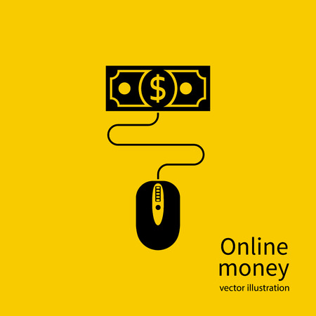 account management: Online money concept. Web account. Virtual money. Management online wallet, computer mouse is connected to banknote. Flat design vector illustration.