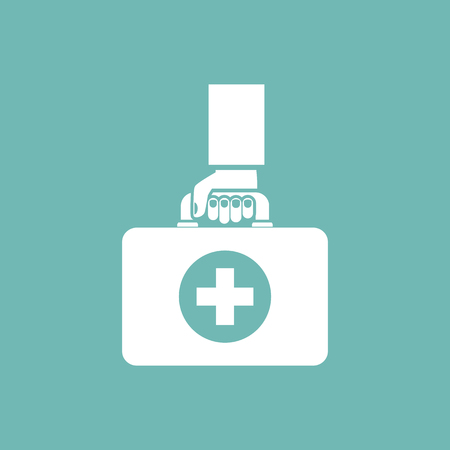 flu shot: First aid kit in hands doctor isolated icon on background, silhouette. Medical concept. Vector illustration in flat design.