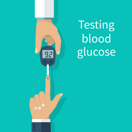Diabetes concept, man holds in hand the meter measures the blood sugar level. Blood drop test strip. Medical diagnostics at home. Vector illustration flat design.