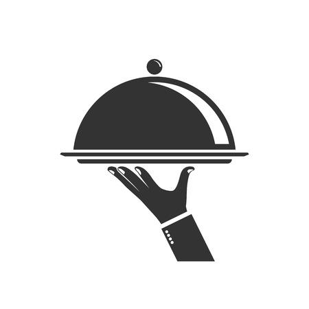 Voedsel dienend dienblad, geïsoleerd pictogram op witte achtergrond. Zilveren dienblad in handkelner. Vectorillustratie, vlakke stijl.