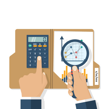 Research business concept. Businessman analyzing financial market research charts. Tax audit, financial report, planning accounting. Calculator magnifying glass in hand. Vector illustration flat style