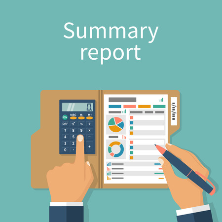 compendium: Summary report concept. Financial worker analyzing statistical data. Research chart, calculation. Compact data summary. Documents folder. Vector illustration flat design. Calculator pen in hand. Illustration