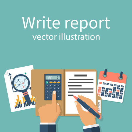 financial market: Businessman writes a financial report, concept. Research, data analysis. Audit, market stats calculate. Paperwork, sheets in folder. Calculator in hand, the calendar graphic.
