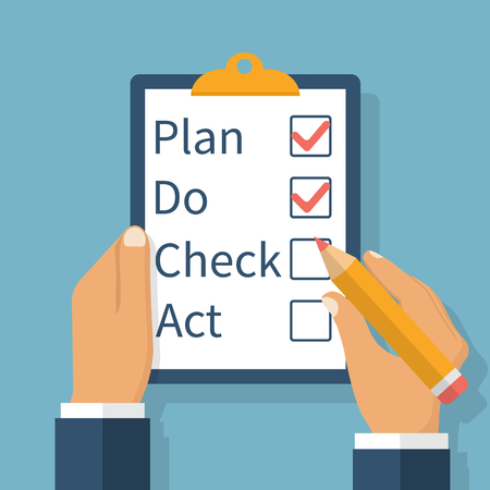 plan do check act: Plan Do Check Act. Businessman checks the action list holding clipboard in hand. Business concept. Action plan on paper. PDCA process. Vector illustration flat design.