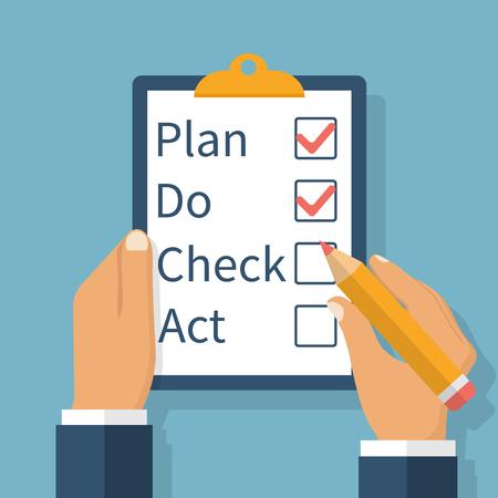 Plan Do Check Act. Zakenman controleert de actielijst bedrijf klembord in de hand. Business concept. Actieplan op papier. PDCA proces. Vector illustratie plat design.