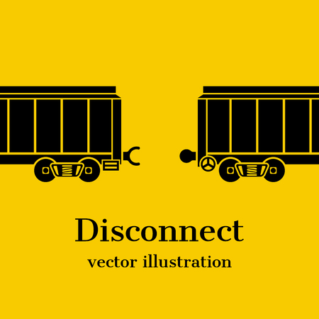 wagons: Disconnect concept. Train, wagons, separated, as a symbol disconnect. Abstract, communication gap. Vector illustration flat design.