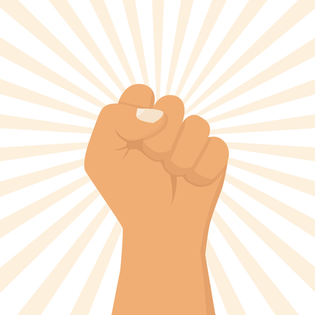 riot: Hand male clenched fist raised to the top. Illustration