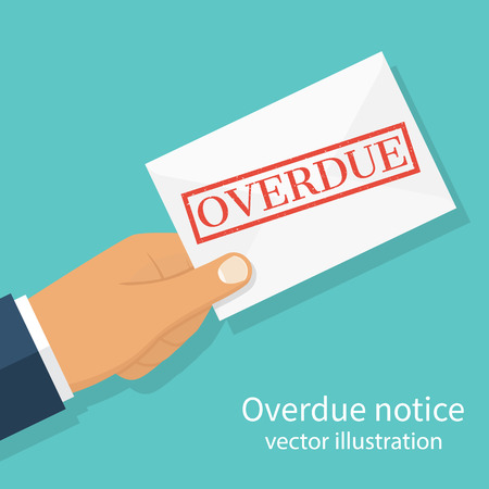 Hand holding letter Overdue Notice. Past due, final notice. Junk mail. Envelope with the stamp in hand. Receive mail. Vector illustration flat design. Isolated on background.