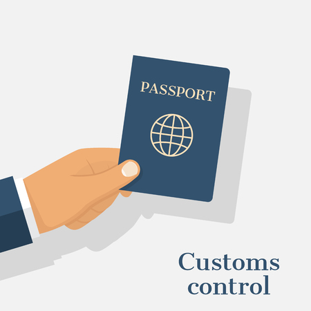 customs: Customs control concept. Businessman giving passport for checking. Hand holding international document isolated on white background. Illustration