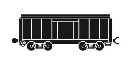 boxcar: Boxcar, railway wagon, freight car, cargo wagon icon isolated on white background. Black silhouette container. Vector illustration flat design. Illustration
