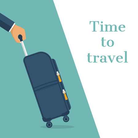 handgrip: Travel bag in hand. Carrying suitcase. Case hold in hand. Time to travel concept, template banner. Vector illustration flat design. Tourist with suitcase. Isolated on background. Illustration
