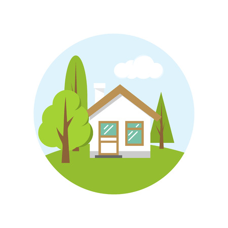 Home icon, vector illustration flat design. House with beautiful scenery, cottage outdoors. Isolated on white background. Illustration