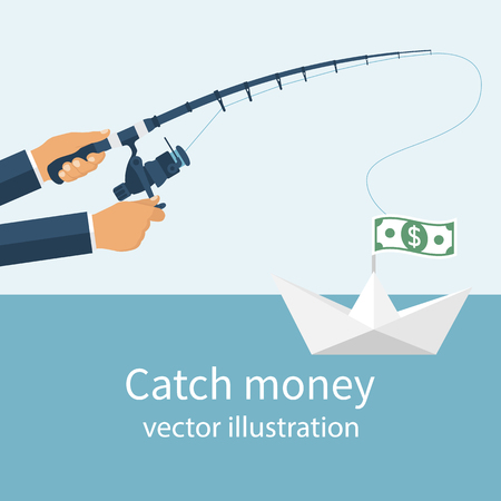 pursuit: Catch money concept. Man holding a fishing rod in his hands, catching a paper boat with the money. Vector illustration flat design. Pursuit of income. Chasing dollars