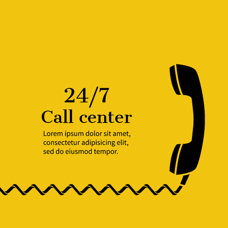 Call center, technical support online. Customer service, concept. Helpline, support service. Abstract background vector illustration, minimalism. Handset, banner template for web, printing, promotion.