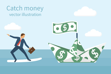 catch: Catch money concept. Vector illustration flat design. Pursuit of income. Chasing dollars. Catching ship of dollars. Businessman with briefcase in hand on a surfboard in pursuit of money.