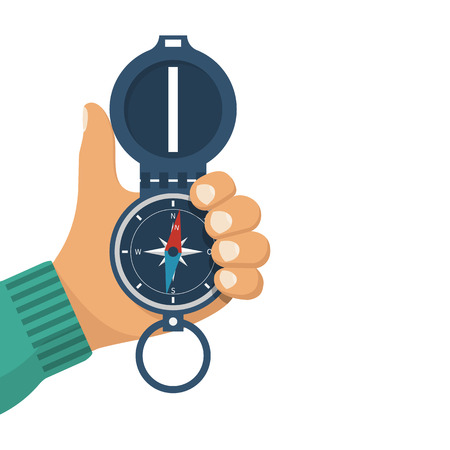 latitude: Man holds a compass in hand. Magnetic navigation device. Equipment for orientation of the traveler. The investigation of the area. Vector illustration flat design. Isolated on white background.