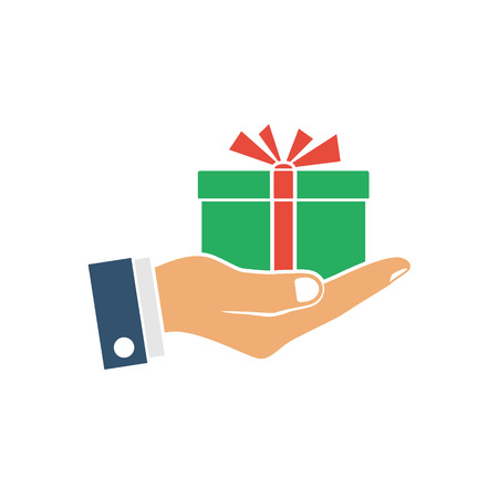 surprise box: Gift box in hand, icon, silhouette. Vector illustration flat design. Isolated on white background. Human giving, receiving surprise box hold in palm. Delivery of gifts for the holiday.