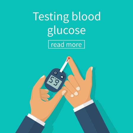 Diabetes concept, man holds in hand glucometer measures blood sugar level. Blood drop test strip. Medical diagnostics apparatus at home. Vector illustration flat design. Equipment monitoring health.