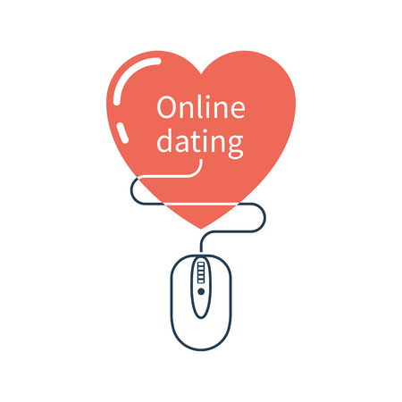 acquaintance: Online dating concept. Heart with mouse as symbol of dating on internet. Modern abstract logo template for web and applications. Vector illustration minimal flat design. Isolated on white background.