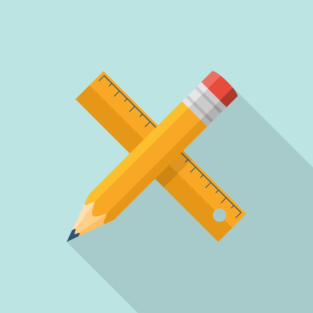 Ruler pencil concept of web design. Working instruments, design tools, equipment. Drawing, sketching. Icon flat design. Vector illustration. Symbol of creativity, education.