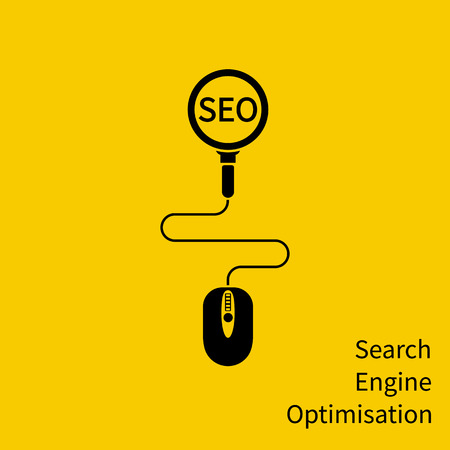 SEO icon, concept. Mouse and magnifying glass as a symbol of searching optimization process. Data analysis, global seo analytics, market stats, social media. Vector illustration flat minimal design.