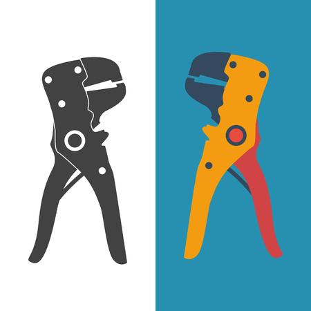 alicates: pelacables, conjunto de iconos. electricista herramienta de trabajo. ilustración vectorial diseño plano. Vectores