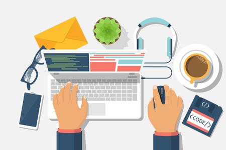 debugging: Developer web concept. Programmer write code for laptop. Software coding, programming languages, testing, debugging, web site. Search engine. Desktop web designer. Vector illustration flat design. Illustration