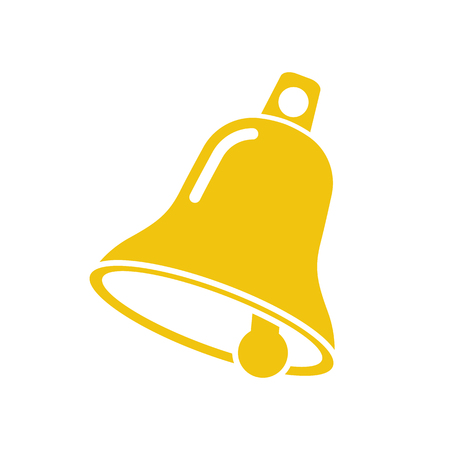 Bell icon vector yellow silhouette on a white background. Christmas bell. Celebration symbol. Icon web design.