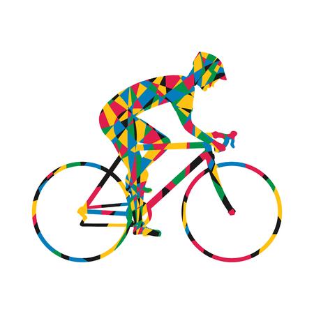 racing bike: Cyclist silhouette colorful icon, man on racing bike. Isolated icon sports bike races. Vector illustration. Speed racing bike. Illustration
