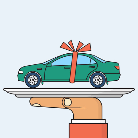 Car gift concept. Man holding a tray of auto with red ribbon. Vector illustration minimal flat design. Best offer cars for sale, rent, template. Isolated on background. Presentation, show vehicle. Illustration