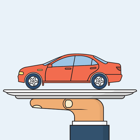 Man holding tray with car. Sale, renting cars, concept. Offer auto. Template for maintenance. Vector illustration minimal flat design. Isolated on background. Tray in hand. Salesman vehicle. Illustration
