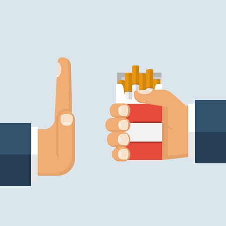 No smoking. Reject cigarette offer. Anti tobacco concept. Cigarette pack in his hand. Hand gesture to reject the proposal smoke. Vector illustration flat design.