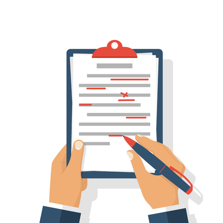Editing documents to correct errors. Proofreader checks transcription written text. Clipboard and red pen in hands of men. Spell check. Vector illustration flat design. Isolated on white background. Vettoriali