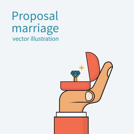 Vorschlag Ehe, Vektor-Illustration minimal flaches Design. Man hält in der Hand eine offene Schachtel mit einem Ehering und Diamant. skizzieren
