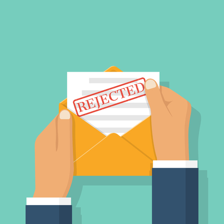 denial: Open envelope in the hands of a businessman with letter, printing Rejected on sheet. Job application rejected. Paper document, resume with stamp refusal. Vector illustration flat design. Illustration