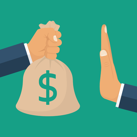 rejection: Rejection money, concept. Businessman holding bag of money in hand offering bribe. Hand gesture rejecting the proposal. Violation of the law, corruption. Refuse cash. Vector illustration flat design.