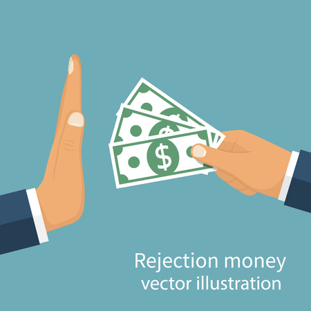 rejection: Rejection money, concept. Businessman holding money in hand offering bribe. Hand gesture rejecting the proposal. Violation of the law, corruption. Refuse cash. Vector illustration flat design.