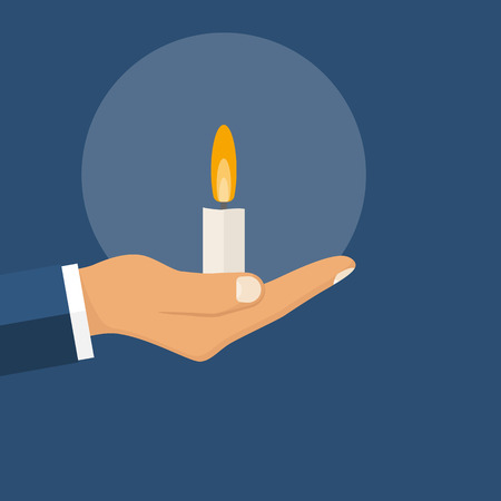 ceremonies: Candle in hand man. Template for celebration or religious ceremonies. Human in holding a burning candle in hand. Vector illustration flat design. Isolated on background.