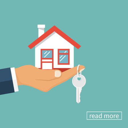Środek Ręka z domu w dłoni i klucz na palcu. Oferta zakupu domu, wynajem nieruchomości. Podając, oferując, demonstracji, wręczając klucze do domu. ilustracji wektorowych płaska.