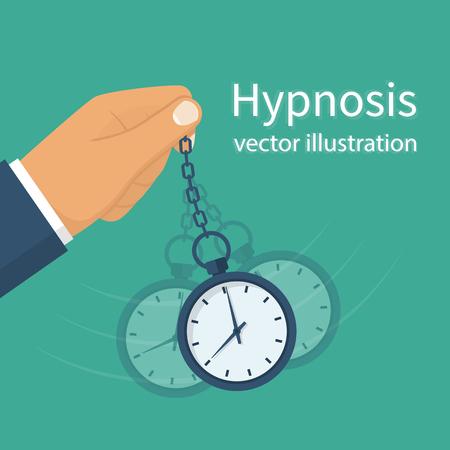 Hypnose concept. Man die een horloge aan een ketting. Gouden zakhorloge. Pendulum swingen. Mind Control. Vector illustratie plat design. Geïsoleerd op de achtergrond. Vector Illustratie