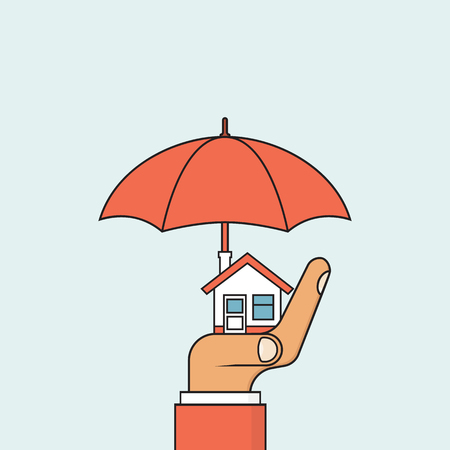 Property insurance icon. Concept security, providing protection from danger. Vector illustration flat minimal design. Insurance agent holding in hand of house and umbrella.