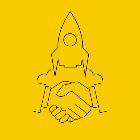 Concept startup. Handshake businessmen as symbol starting a new business project. Vector illustration minimal flat style design line. Launch of handshake. Teamwork. Web banner and printed materials.