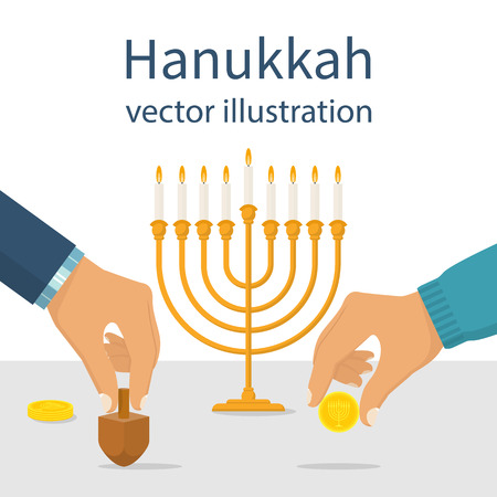 gelt: Jewish traditional holiday. Hanukkah menorah, wooden dreidel and geld chocolate coins. Man holds in hand objects symbolizing a religious holiday. Vector illustration flat design.