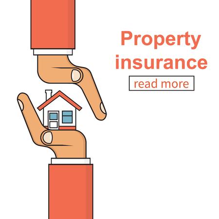 icono de seguros de propiedad. concepto de la seguridad, proporcionando el hogar protección del peligro. ilustración vectorial diseño minimalista plana, esquema. Agente de seguros que sostiene en la mano de la casa.