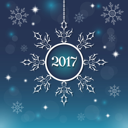 Snowflake decorative element. Abstract blue background with bright stars sparkle. New Year 2017. It is used as a greeting card in the winter celebration, poster, postcard. Vector illustration. Illustration