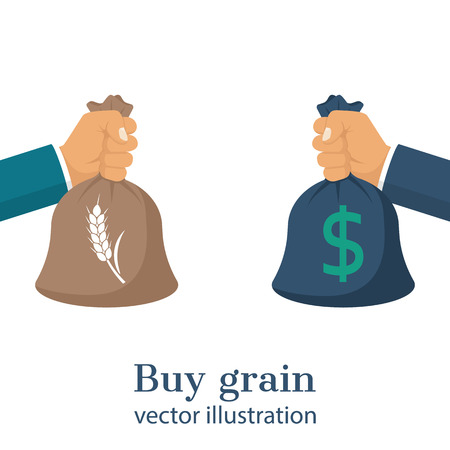 agribusiness: Meeting business transaction of sale crops. Buy grain. Agricultural income concept. Bag in hand with money and grain. Exchange deal. Agribusiness background, isolated. Vector illustration flat design. Illustration